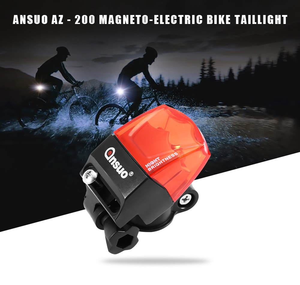 Ansuo AZ - 200 Water-resistant Magneto-electric Bike Taillight