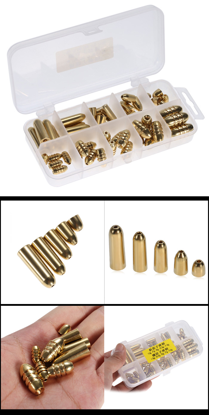51pcs Brass Fishing Bullet Sinker with Storage Box
