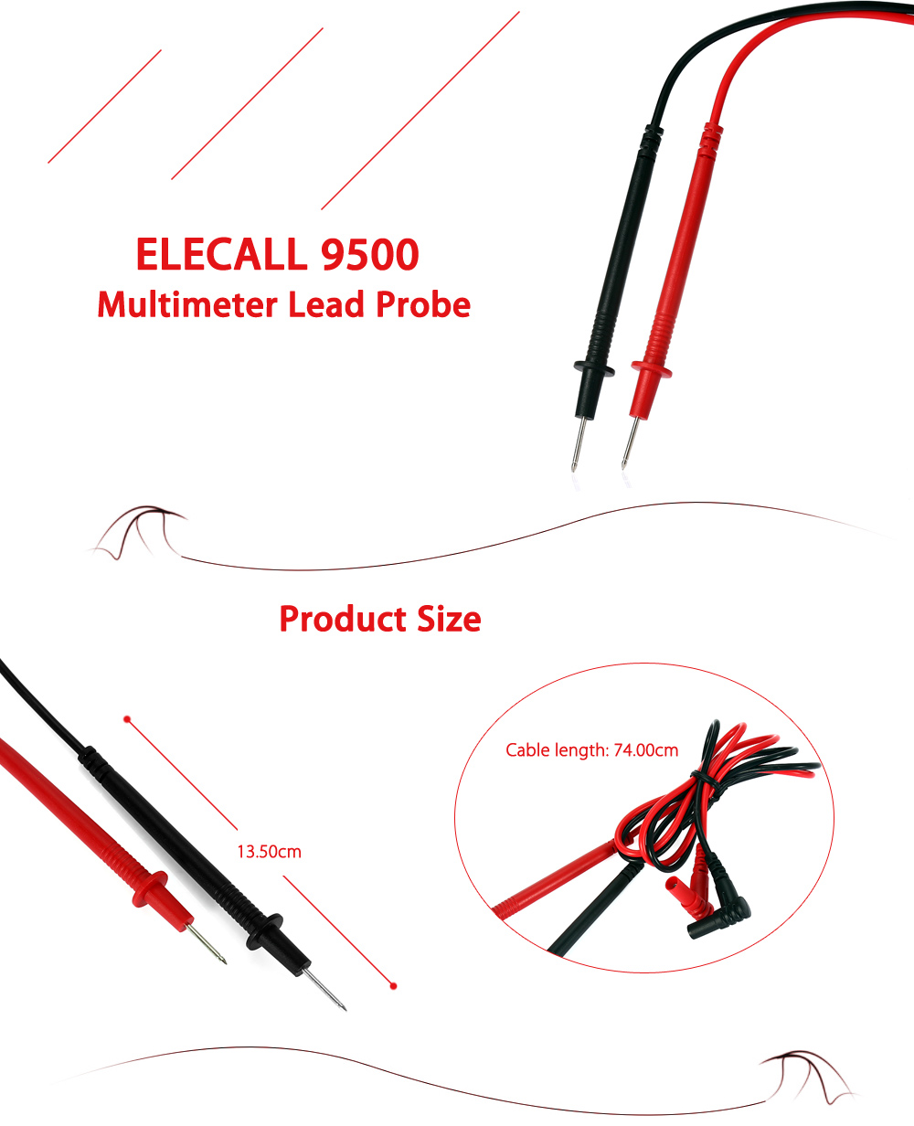 ELECALL 9500 Universal Multimeter Lead Probe with Connector Cable for Testing
