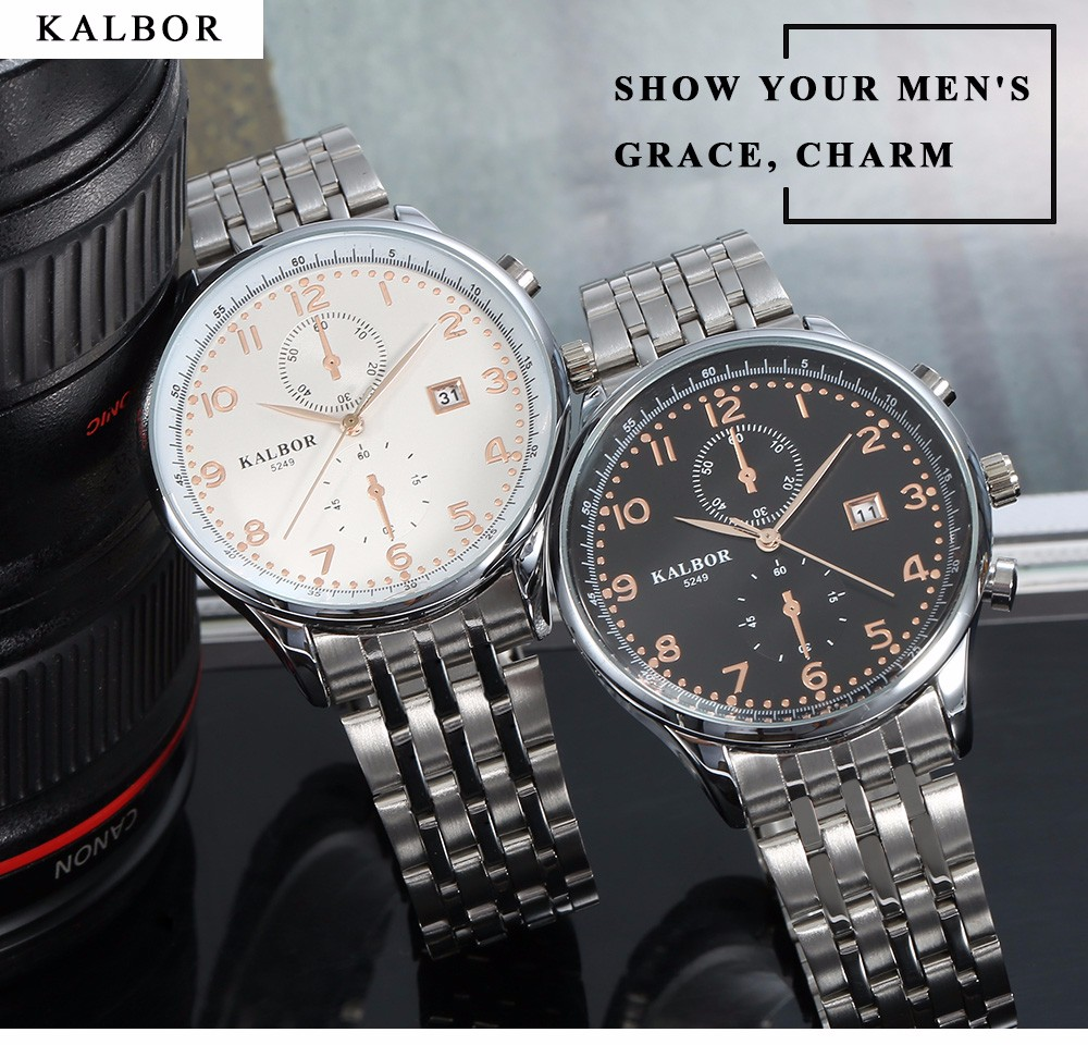 KALBOR 5249 Business Male Quartz Watch with Date Display