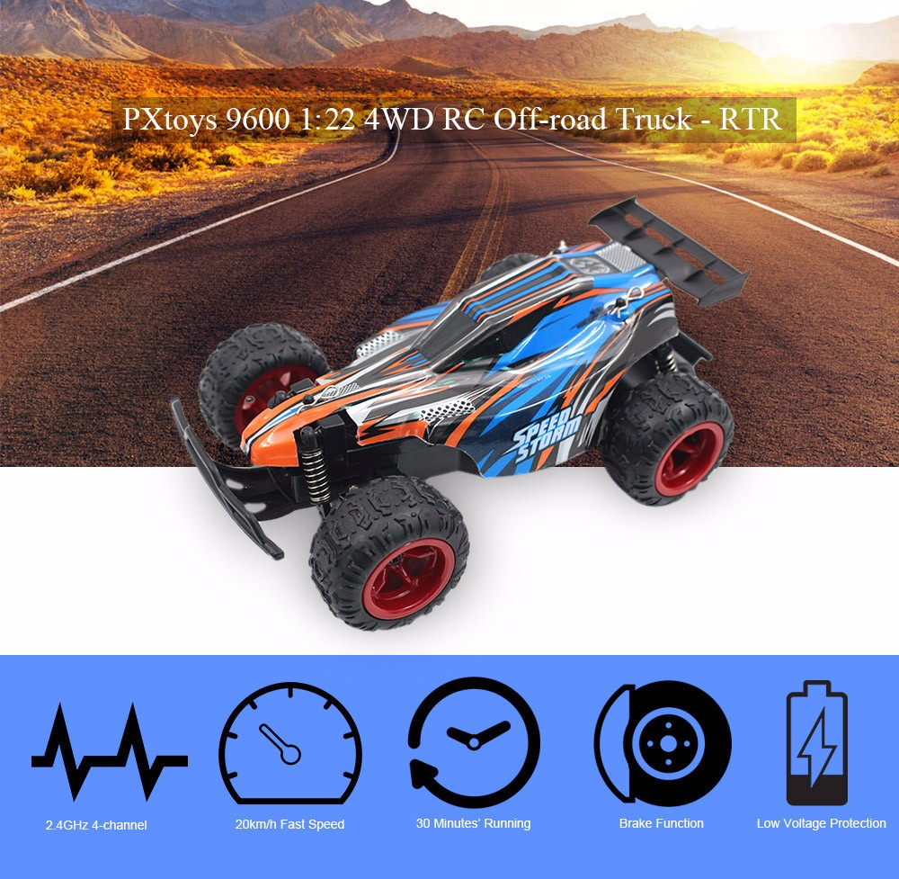 PXtoys 9600 1:22 4WD RC Off-road Car RTR 20km/h 2.4GHz 4CH with Brake Low Voltage Protection