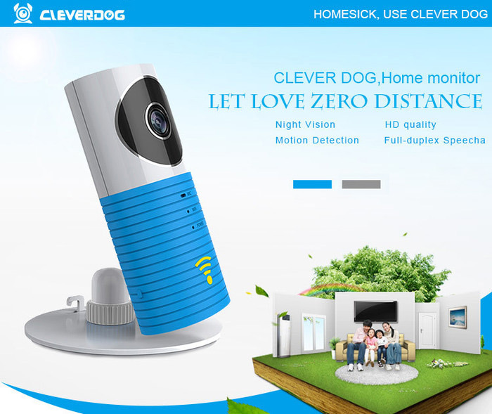 Clever Dog 720P HD Mini WiFi Smart IP Camera Support P2P Transmission / Two-way Voice Chat / Remote Alarm / TF Card Storage