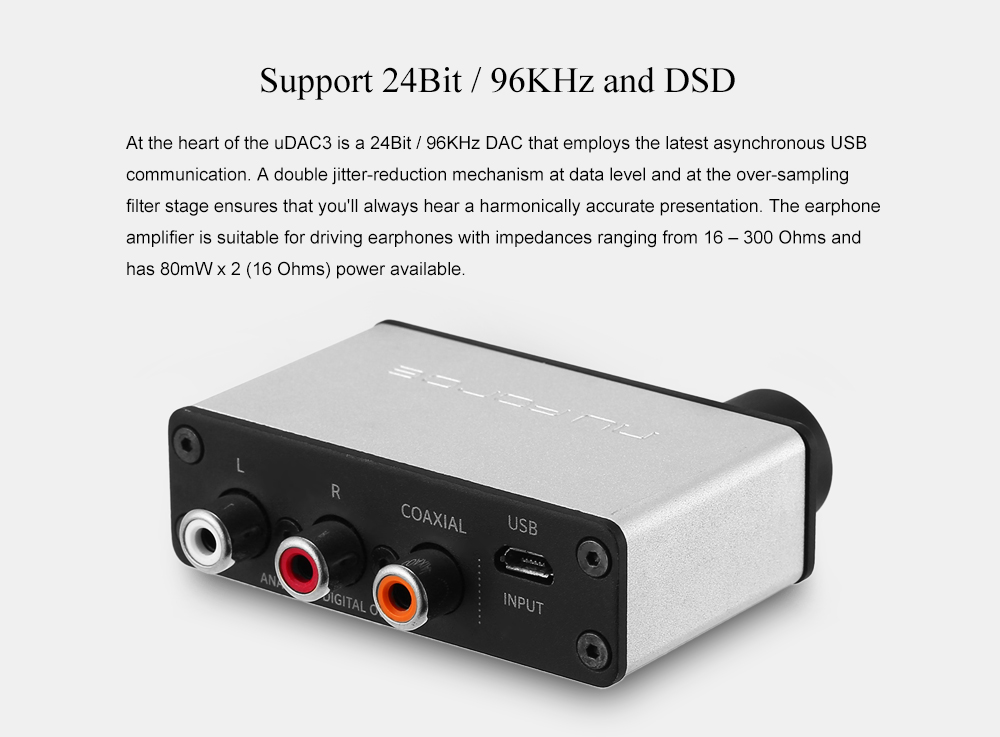 Nuforce uDAC3 USB Digital Audio Converter High-resolution Support DSD and 24Bit / 96KHz