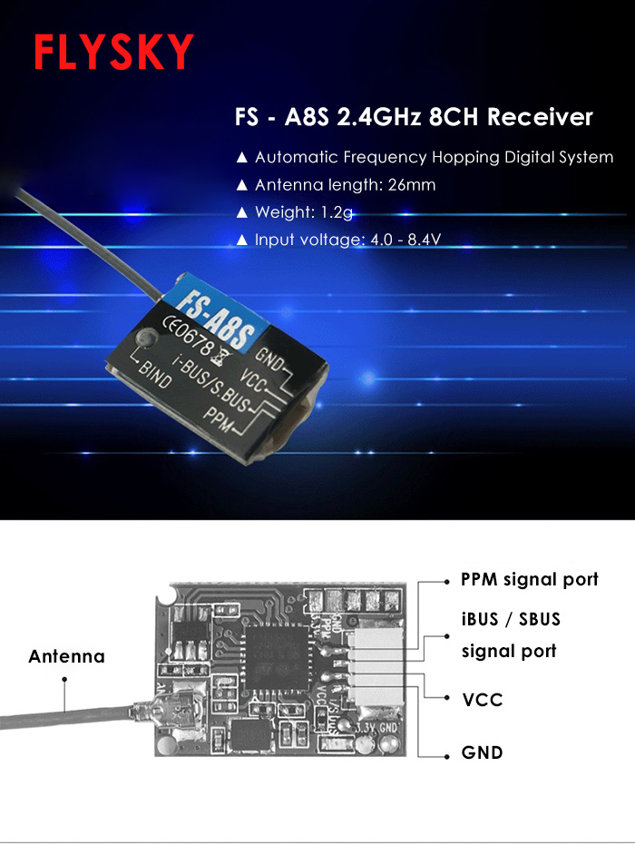 FLYSKY FS - A8S 2.4GHz 8-channel Mini Receiver with PPM iBUS SBUS Output for Multirotors