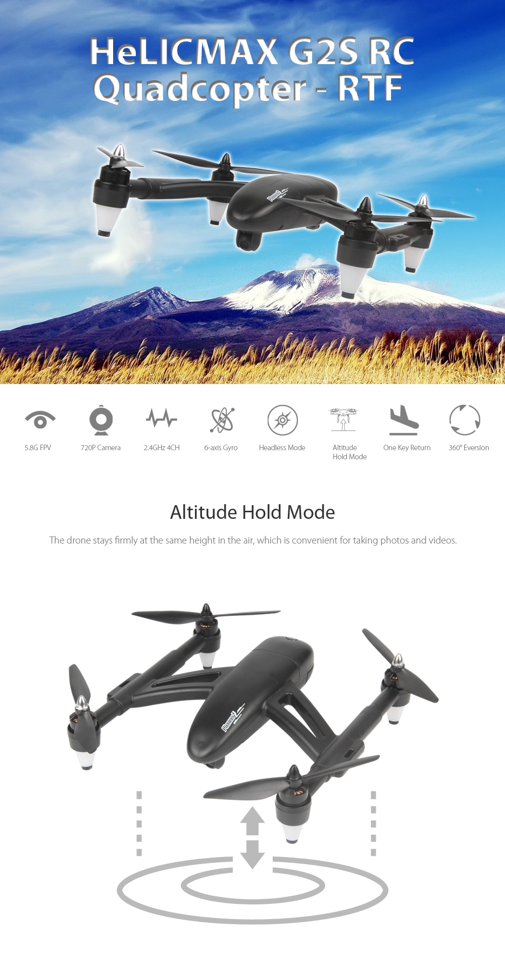 HeLICMAX G2S Brushless RC Drone RTF 5.8G FPV 720P Camera 2.4GHz 4CH 6-axis Gyro Headless Mode One Key Return