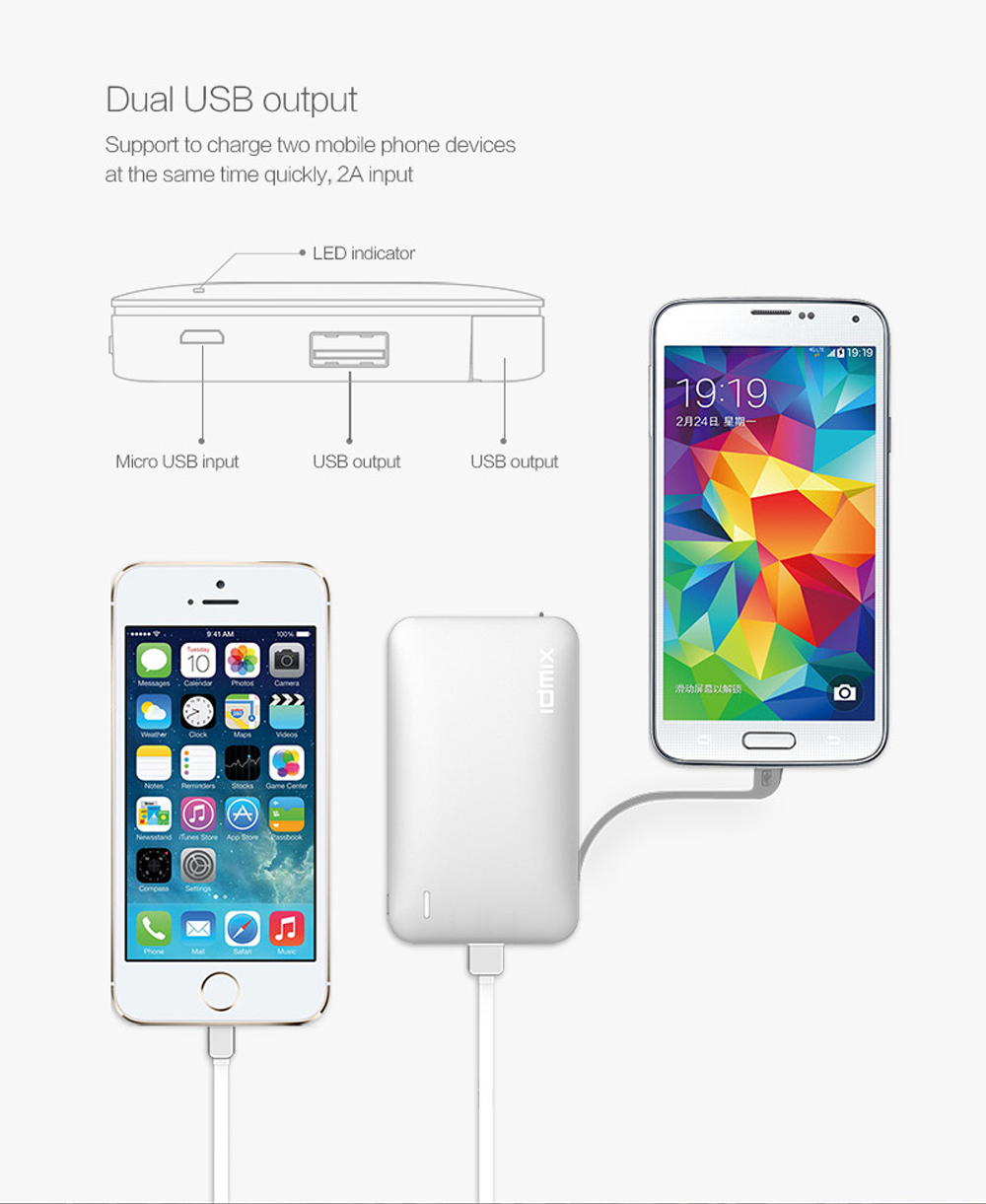 IDMIX DM - X8 8100mAh Mobile Power Bank Built-in Micro USB Charging Cable 2.4A Fast Charge Output
