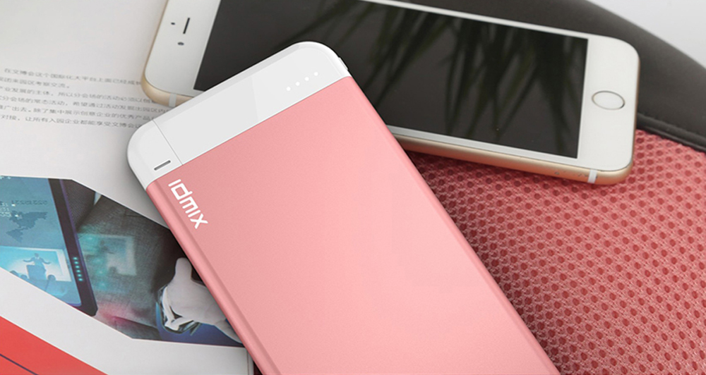 IDMIX i6 mate MFI Certification Ultra-thin 4100mAh Portable Power Bank Built-in Lightning USB Charging Cable