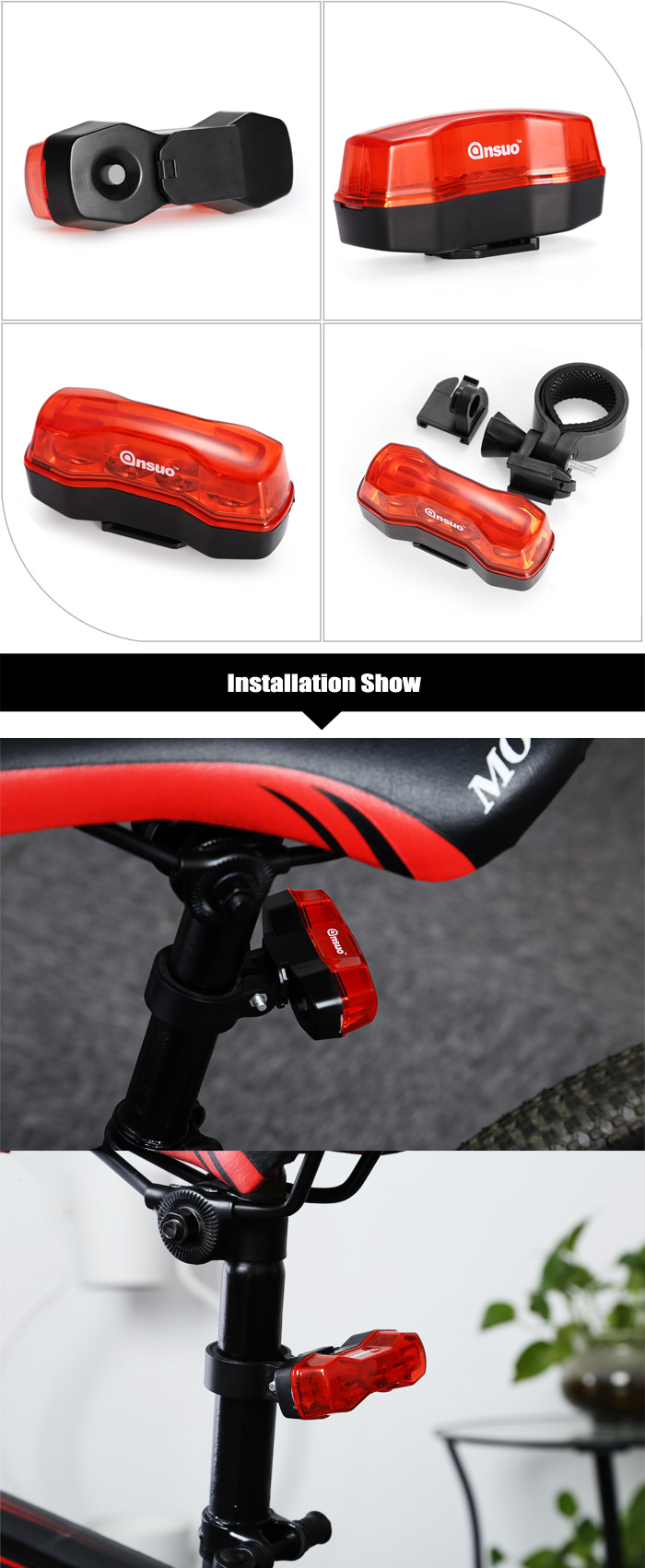 Ansuo AZ - 109 4-LED Super Bright Bike Taillight Water-resistant Safety Warning Light