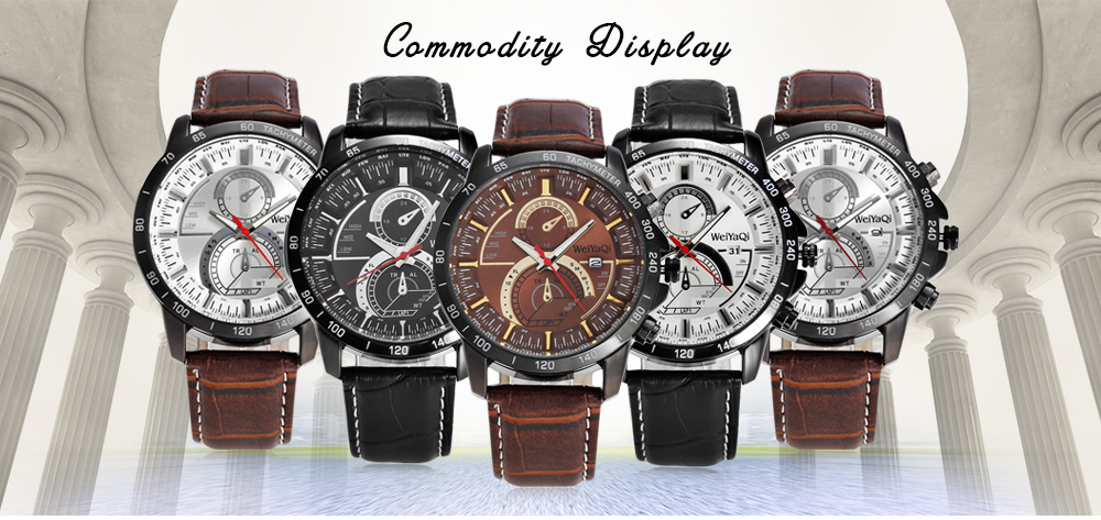 WeiYaQi 89030 Fashion Two Decorative Sub-dials Male Quartz Watch with Leather Strap