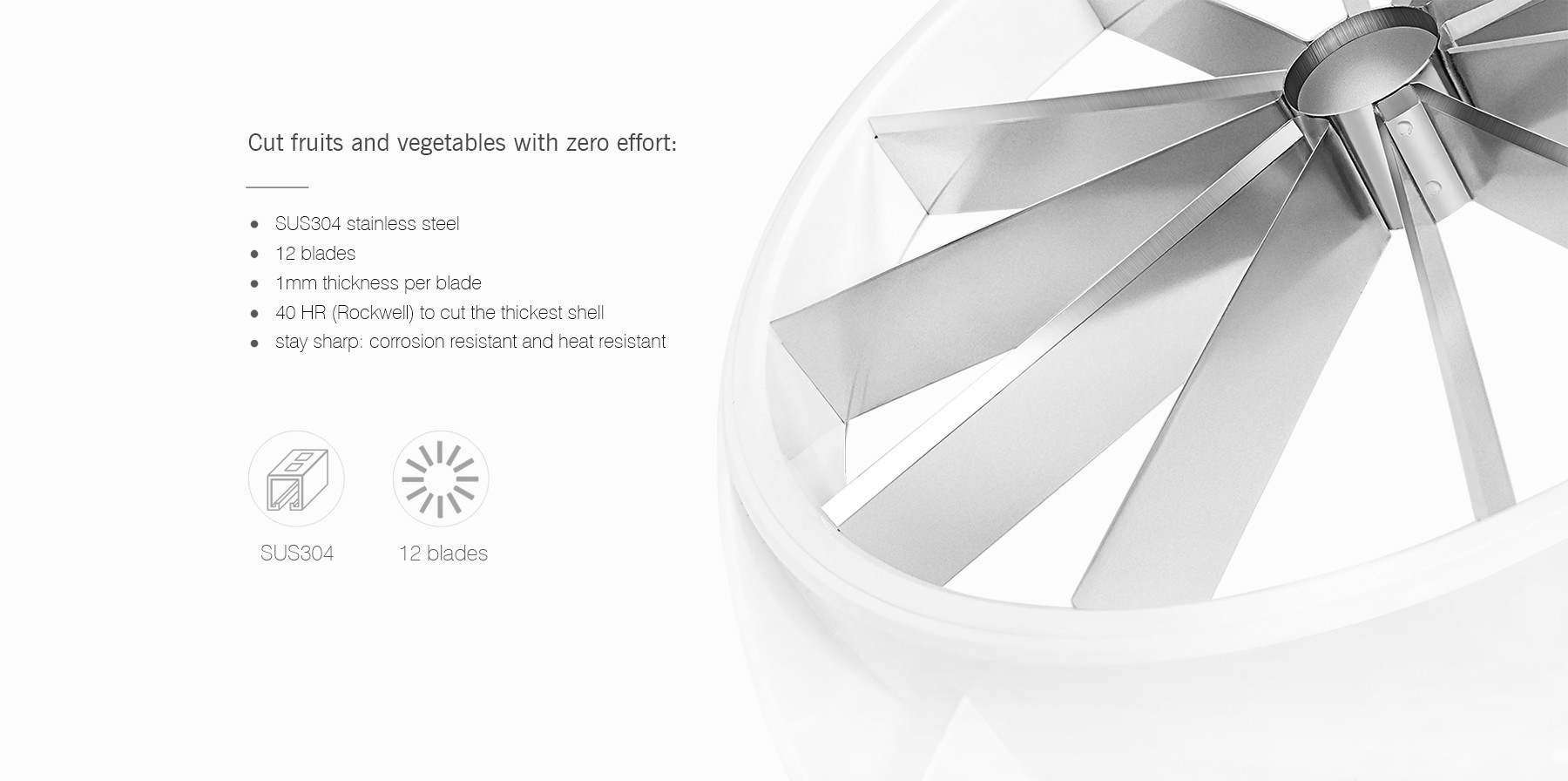 zanmini Stainless Steel Melon Slicer Modern Home Kitchen Tool for Cutting Fruit Vegetables