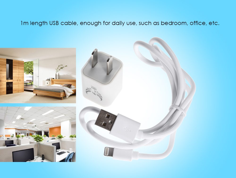 HSY K200 - i6 Travel Charger Power Adapter 1m 8 Pin USB Data Sync Charging Cable Combo Kit