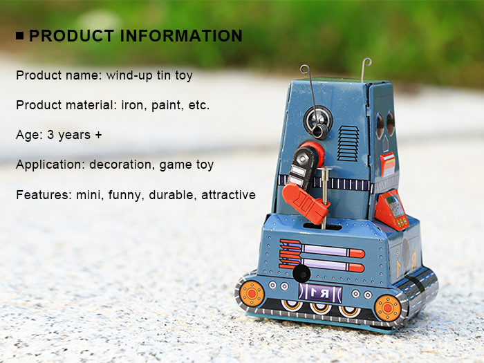 Classical Tank Style Clockwork Tin Toy Intelligent Present for Kid