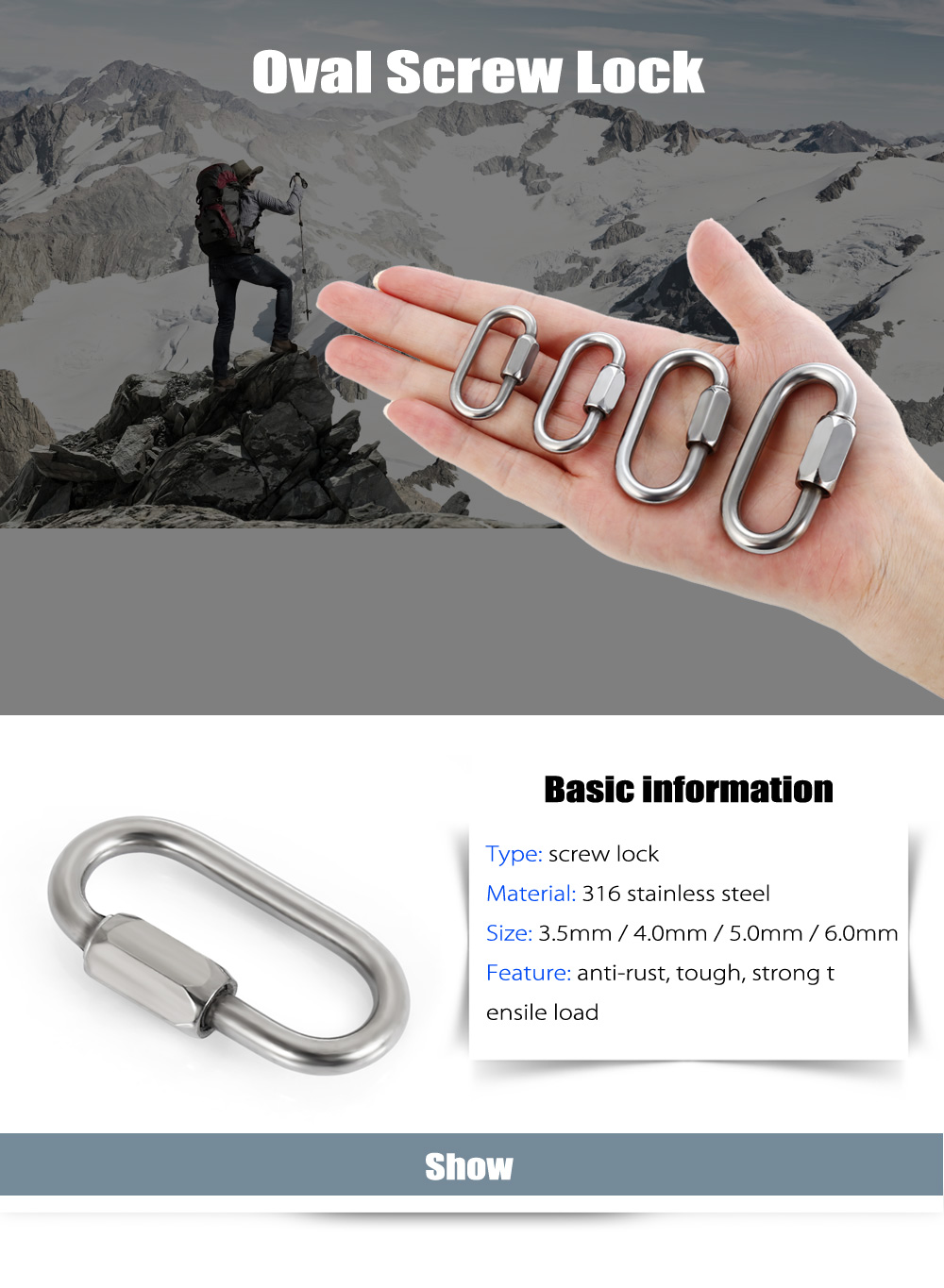 316 Stainless Steel Oval Screw Lock Carabiner Security Connector Buckle Chain