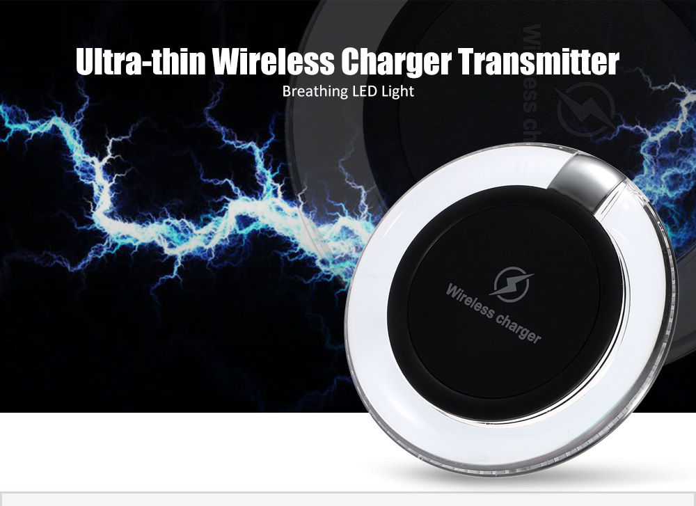 W3 Qi Wireless Charger Transmitter Round Pad Launcher Breathing LED Light