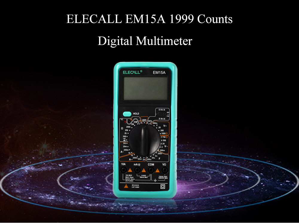 ELECALL EM15A 1999 Counts Digital Multimeter with LCD Backlight