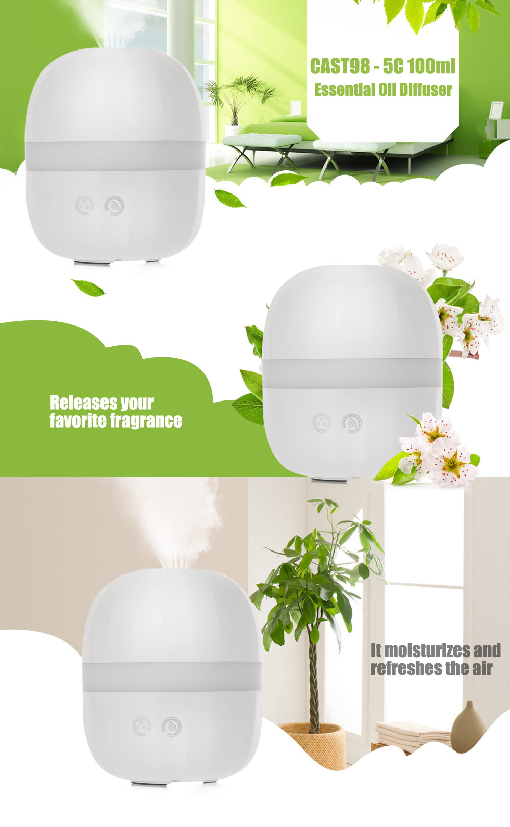 CAST98 - 5C 100ml Essential Oil Diffuser Ultrasonic Cool Mist Humidifier for Home Office