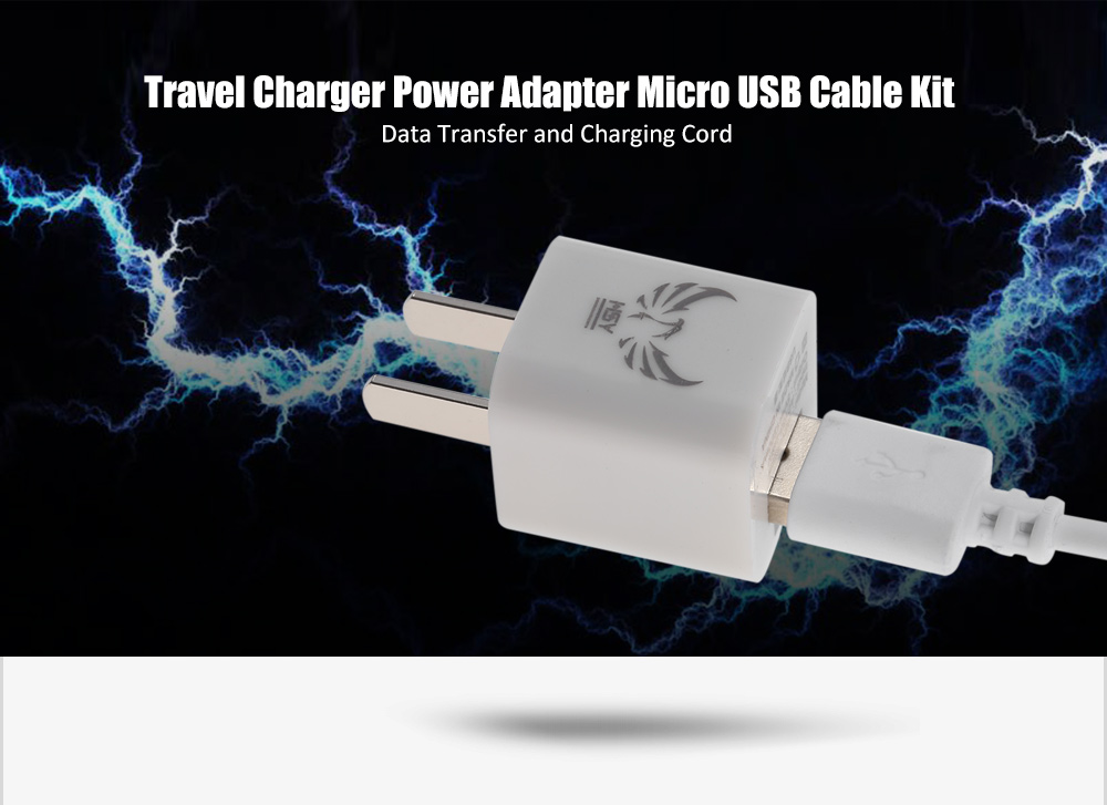 HSY K200 Travel Charger Power Adapter 1m Micro USB Data Sync Charging Cable Combo Kit