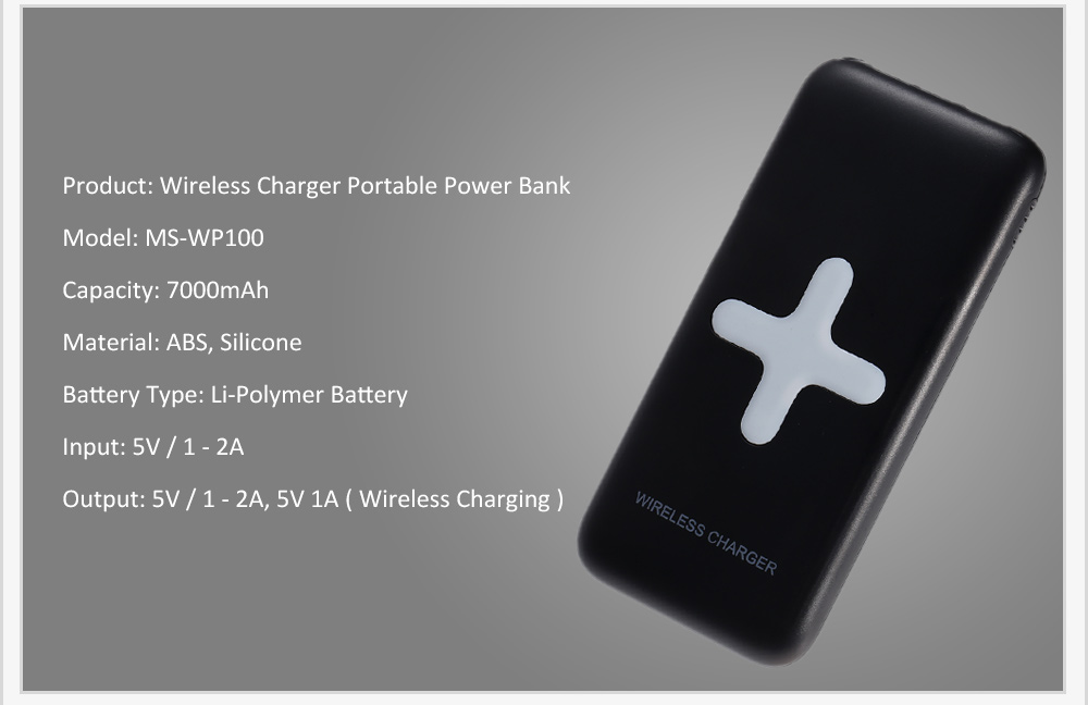MS - WP100 2-in-1 7000mAh Mobile Power Bank Wireless Charger Transmitter Launcher Dual USB Output