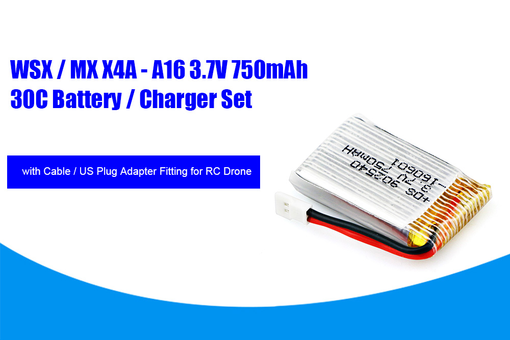 WSX / MX X4A - A16 4Pcs 3.7V 750mAh 30C High-capacity Battery / Charger for RC Model