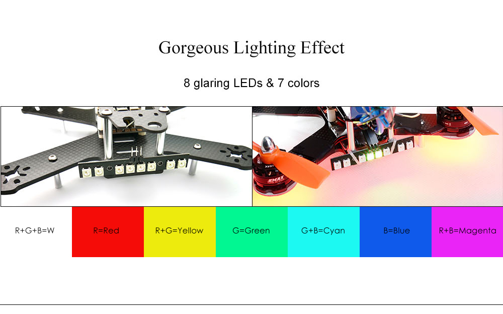 Matek Systems WS2812B RGB5050 LED Board with 8 Lights 7 Colors Dual Modes for FPV Multicopters