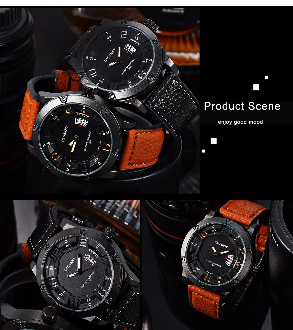 CAGARNY 6858 Japan Movement Casual Male Quartz Watch with Stereo Scale