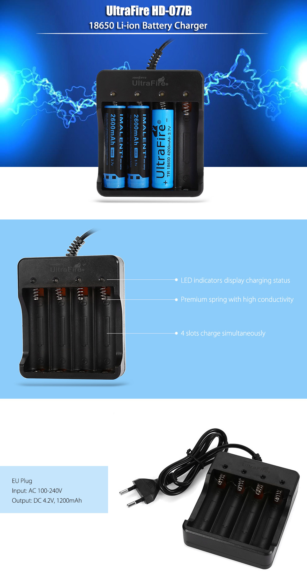 UltraFire HD - 077B 4 Slots 18650 Lithium-ion Battery Charger