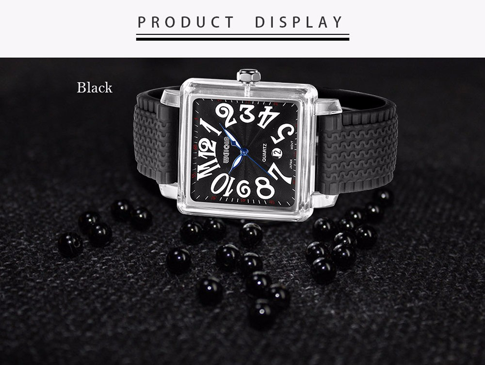 WeiQin 1162 Fashion Square Dial Unisex Quartz Watch with Silicone Strap