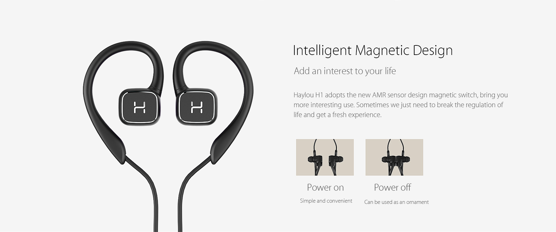 Haylou H1 Bluetooth Sport Earbuds with Earhook Smart Magnetic Switch Design