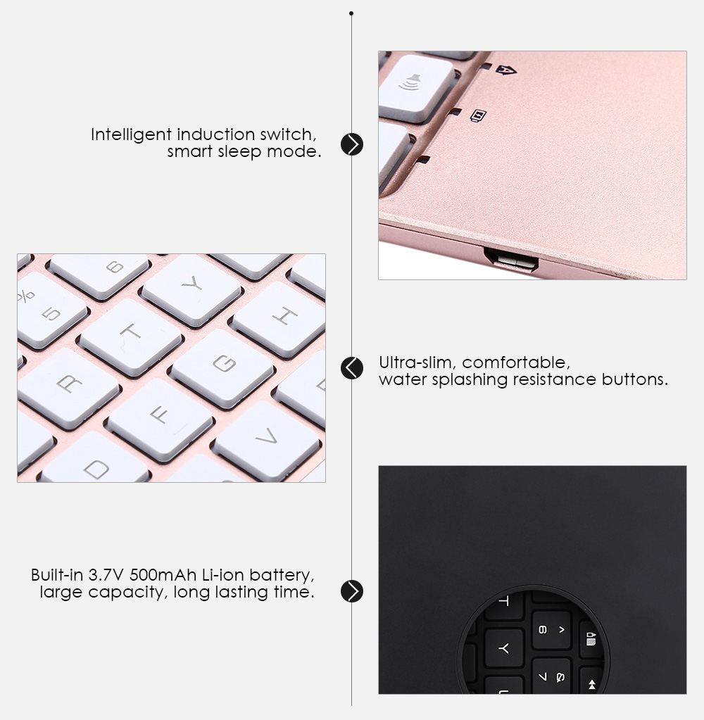 F8S Wireless Bluetooth Keyboard Flip Aluminum Alloy Protective Case for iPad Pro 9.7 inch / Air 2 LED Backlit with 7 Colors