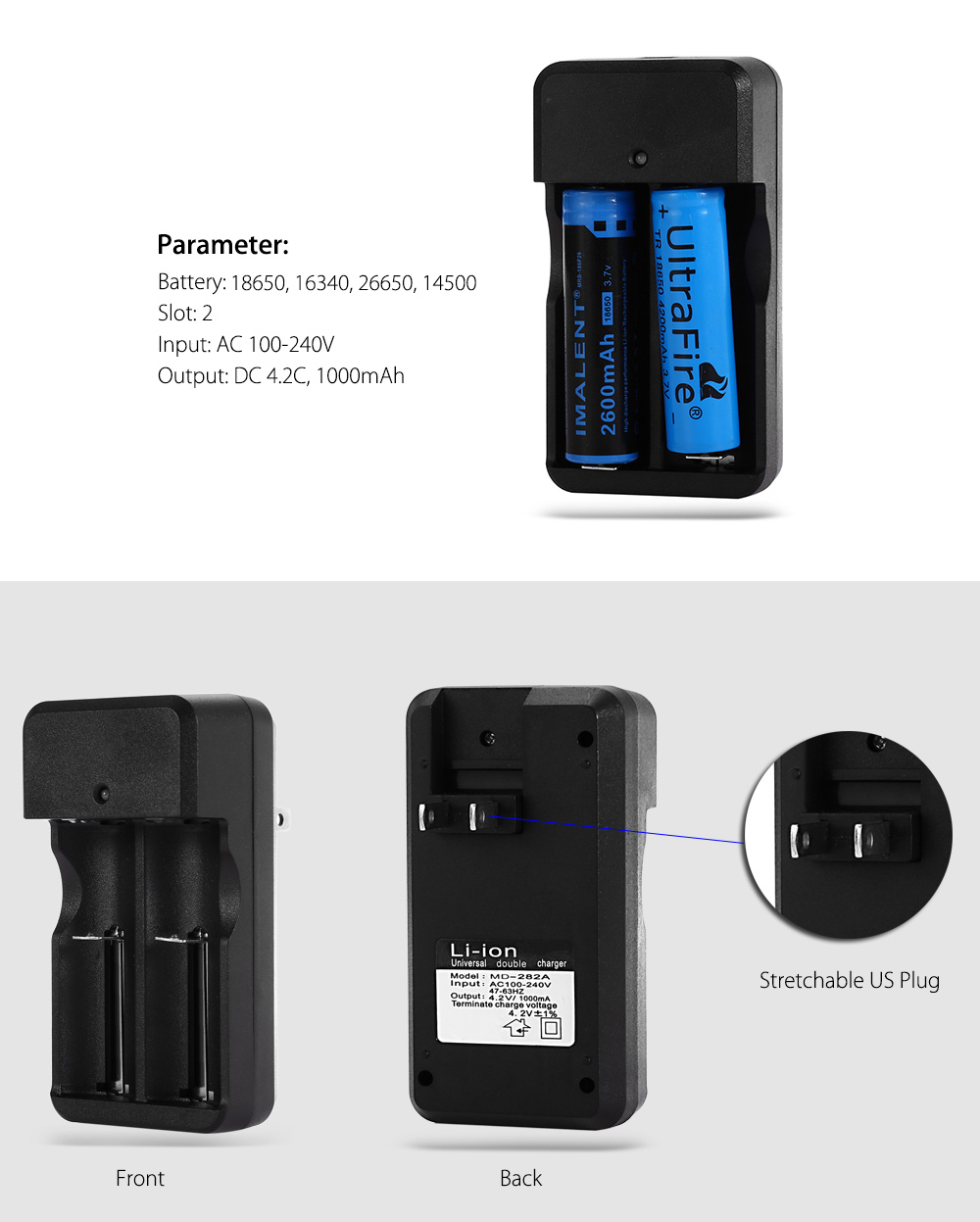 UltraFire MD - 282A 18650 / 16340 / 26650 / 14500 Battery Charger