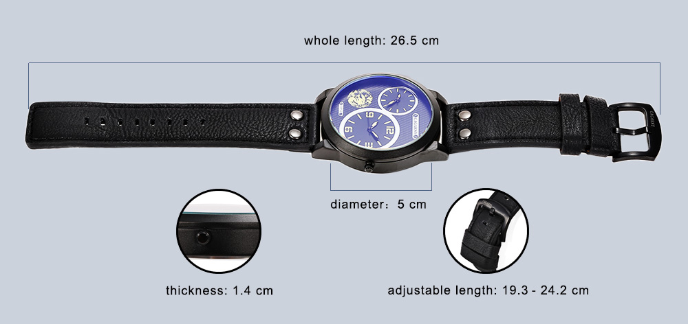 CAGARNY 6852 Fashion Double Movements Male Quartz Watch with Big Dial