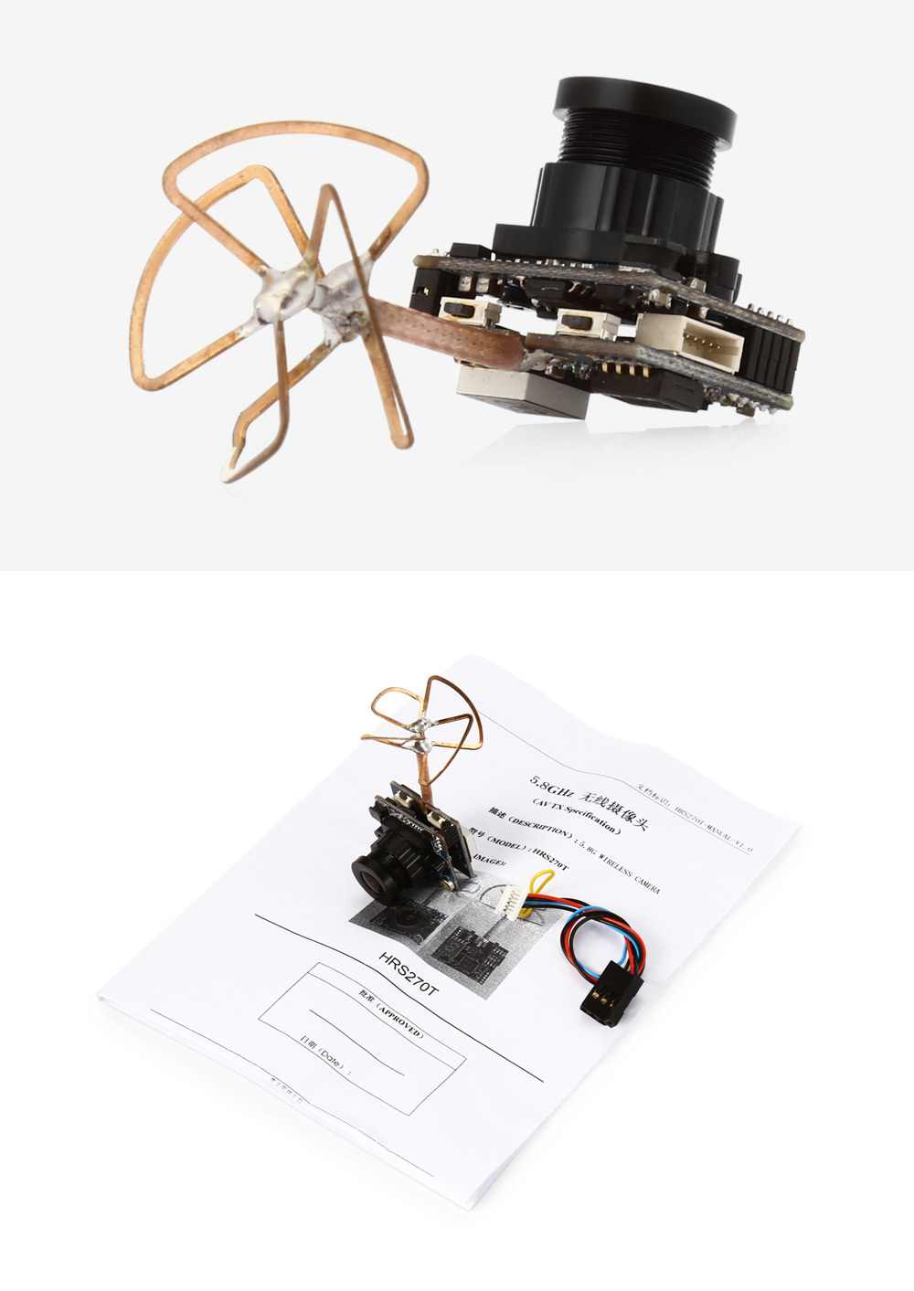 HRS270T 5.8GHz Wireless Camera with Transmitter Antenna for FPV