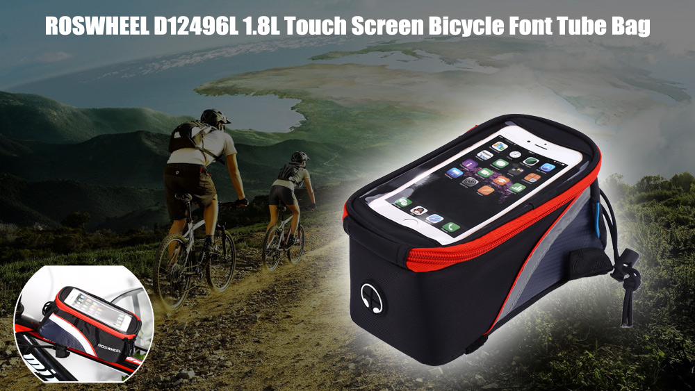 ROSWHEEL D12496L 1.8L Touch Screen Bicycle Font Tube Bag Colorful Strap Handlebar Pouch Cycling Accessories