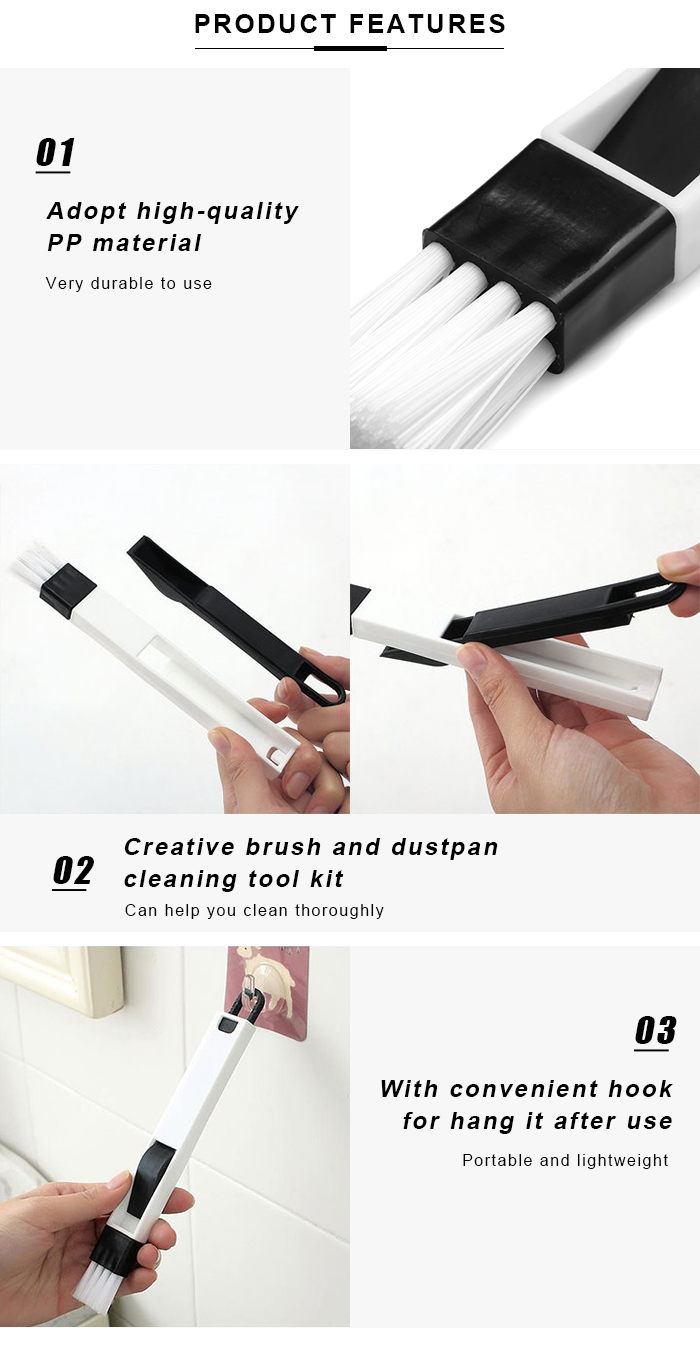Cleaning Brush Dustpan Kit for Window Recess Groove Keyboard Drawer Crevice