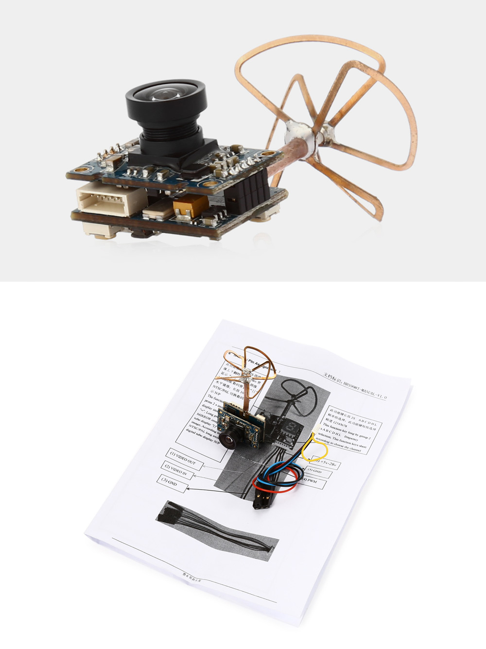 HRS998T 5.8GHz Wireless Camera with Transmitter Antenna for FPV