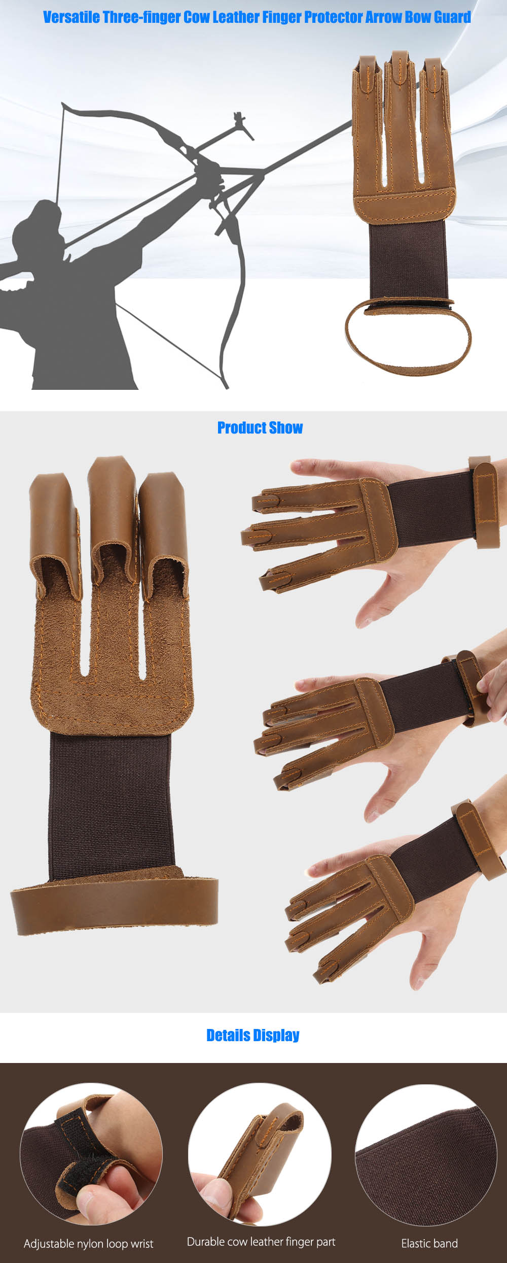 Versatile Three-finger Cow Leather Finger Protector Arrow Bow Guard Shooting Accessories