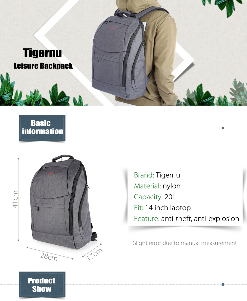 Tigernu T - B3169 Water-resistant Nylon 20L Leisure Backpack Bag for 14 inch Laptop