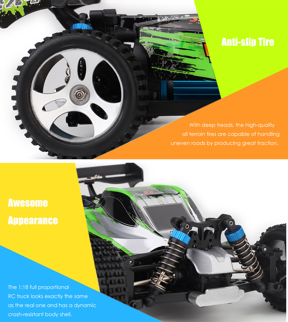 WLtoys A959 - A 1:18 4WD RC Off-road Car RTR 35km/h 2.4GHz 2CH Splashproof with All Terrain Tires Shock Absorbers