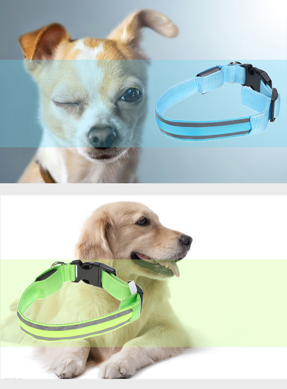 Yeshold Glowing LED Pet Cat Dog Collar with Reflective Stripe
