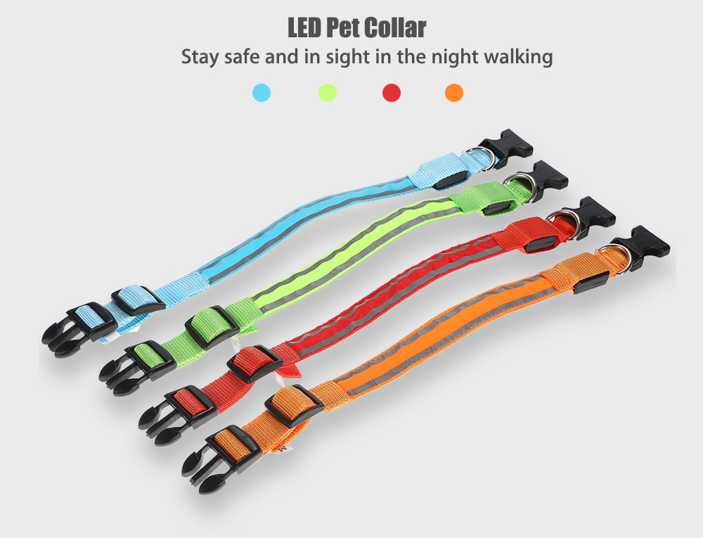 Glowing LED Pet Cat Dog Collar with Reflective Stripe