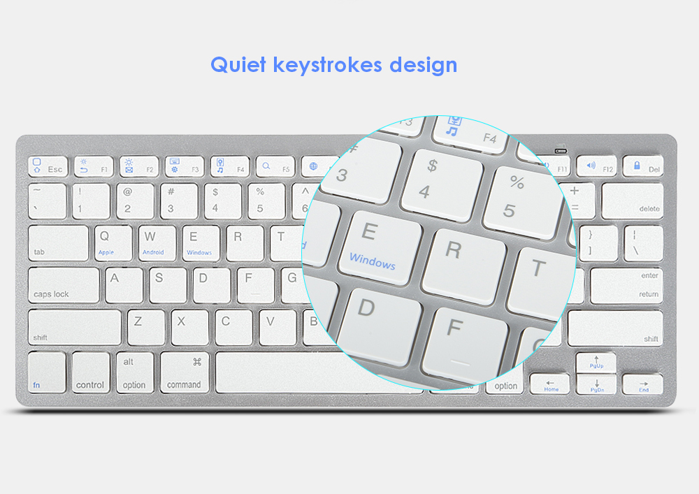 BK 3001 Wireless Connection Bluetooth Keyboard Quiet Keystrokes for Smart Phones Tablet Notebook