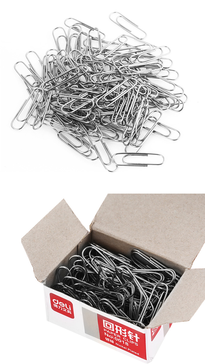 Deli 0018 100PCS 29mm Electroplated Stainless Steel Paper Clip