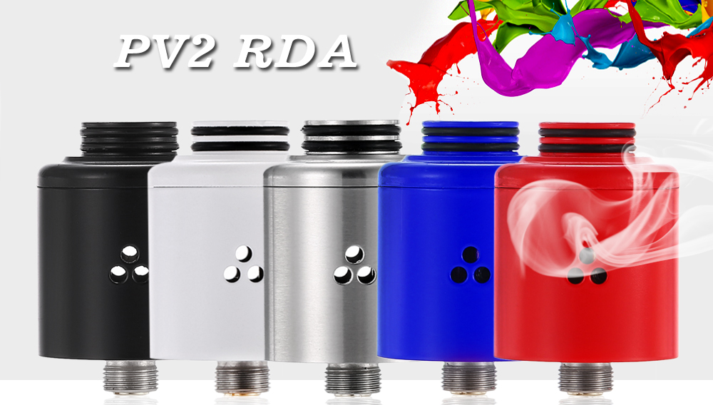 PV2 RDA with Top Filling / Side Airflow / Dual Gold-plated Posts for E Cigarette