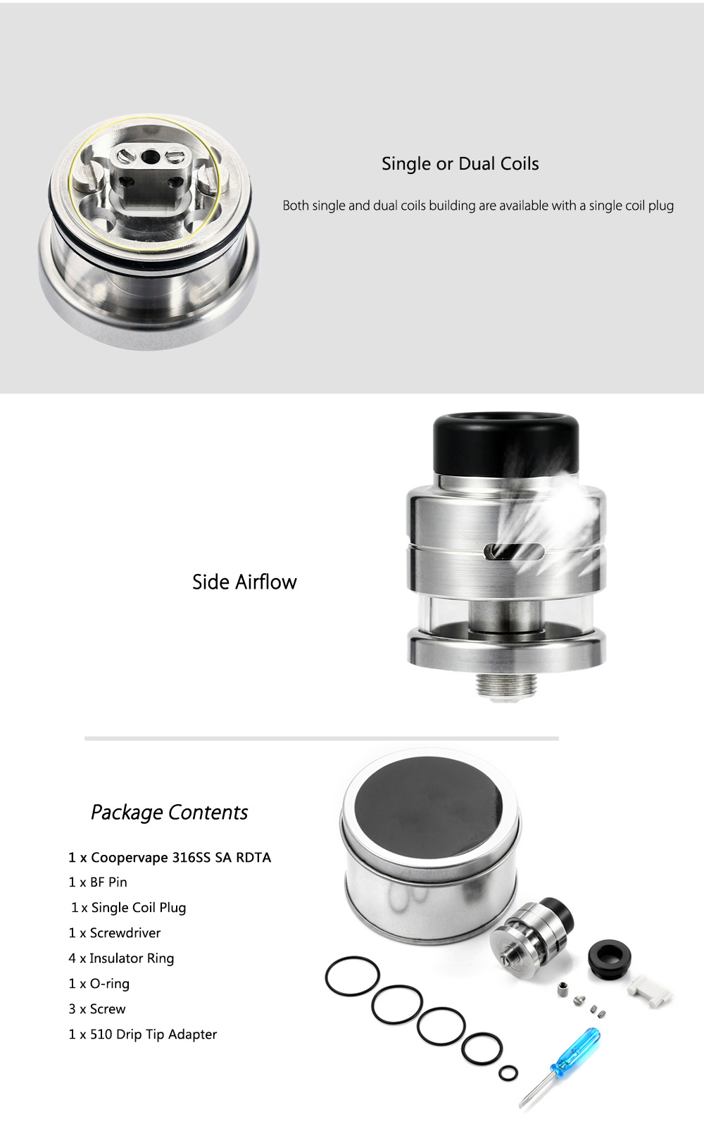 Coppervape 316SS SA RDTA with BF Pin / Side Airflow / 1.3ml Capacity / Single / Dual Coils Building for E Cigarette