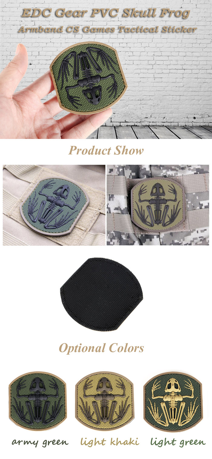 EDC Gear PVC Skull Frog Armband Tactical Badge Sticker for CS Games