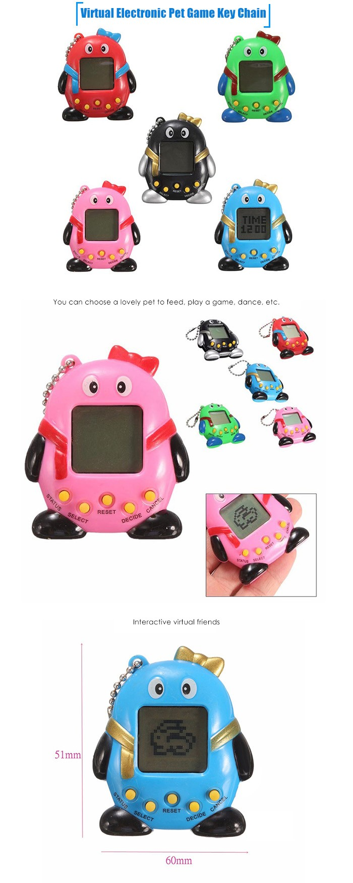 Key Chain with Nostalgic 49 Pets in 1 Electronic Pet Game Toy - 1pc