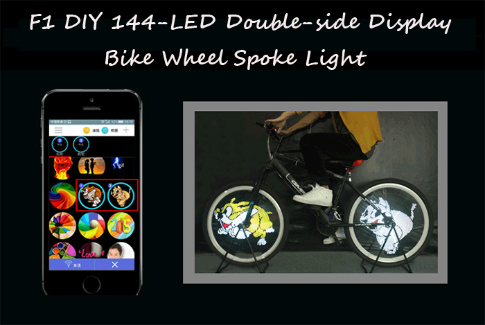 F1 DIY 144-LED 200 Colorful Flash Patterns Bike Wheel Spoke Light for Night Cycling