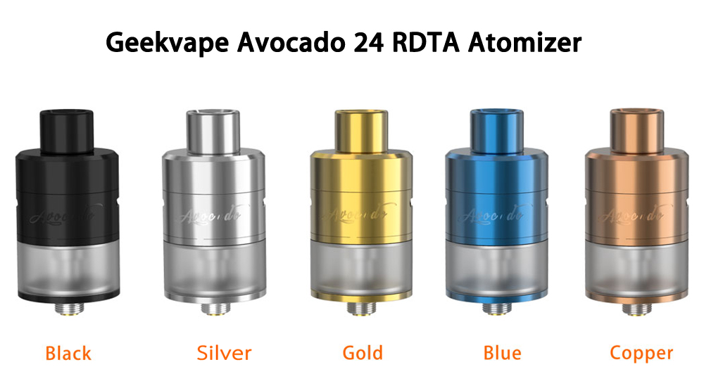 Original Geekvape Avocado 24 RDTA Atomizer with 5.0ml / Velocity Deck / Single / Dual Coils Building for E Cigarette