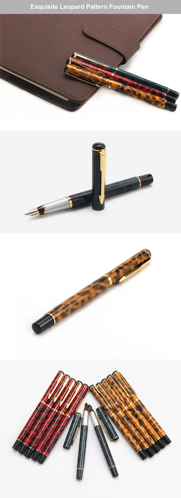 JINHAO Exquisite Leopard Pattern Fountain Pen Writing Stationery 15PCS