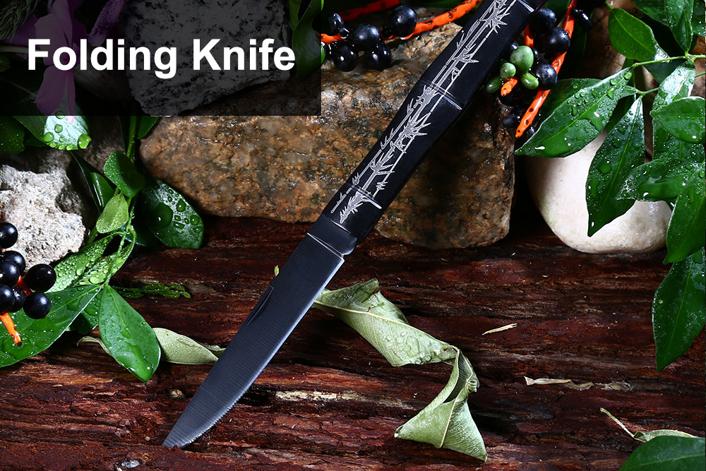 No Lock Stainless Steel Folding Knife with Alloy Bamboo Joint Handle